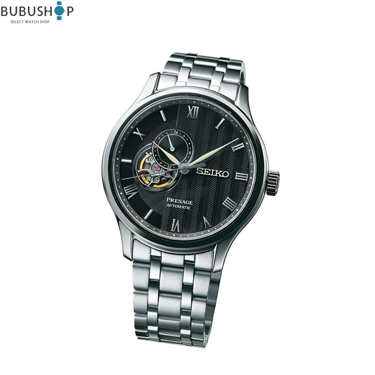 SEIKO セイコー PRESAGE 腕時計 自動巻 シースルーバック カーブサファイアガラス SSA377J1 メンズ オープンハート ビジネス 贈り物