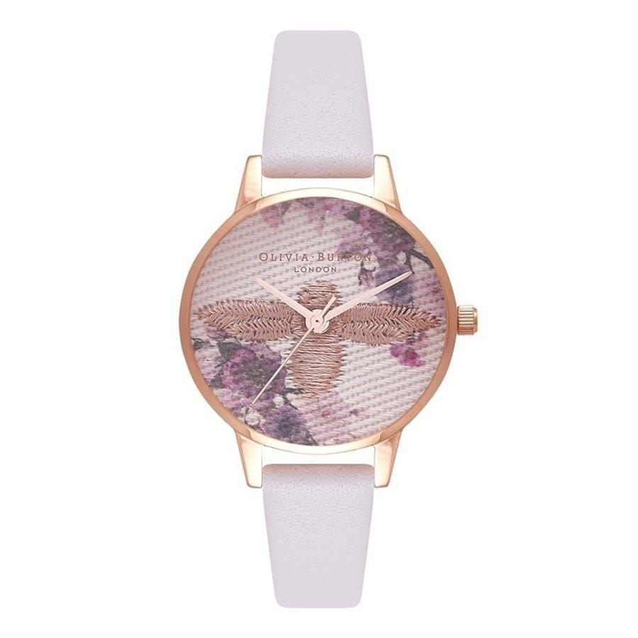 Olivia Burton オリビアバートン 腕時計 エンブロイダーダイヤル ブラック & ローズゴールド 30mm レザー 腕時計 レディース プレゼント 贈り物 OB16EM06