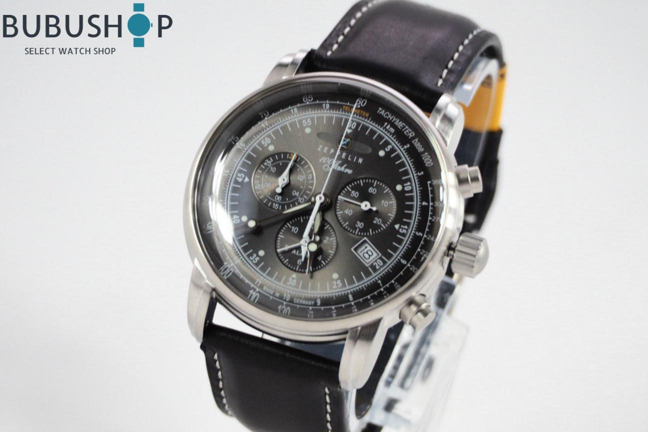 ZEPPELIN ツェッペリン 腕時計 7680-2 100周年 クォーツ メンズ クロノグラフ 腕時計 ウォッチ ブラック 贈り物 プレゼント