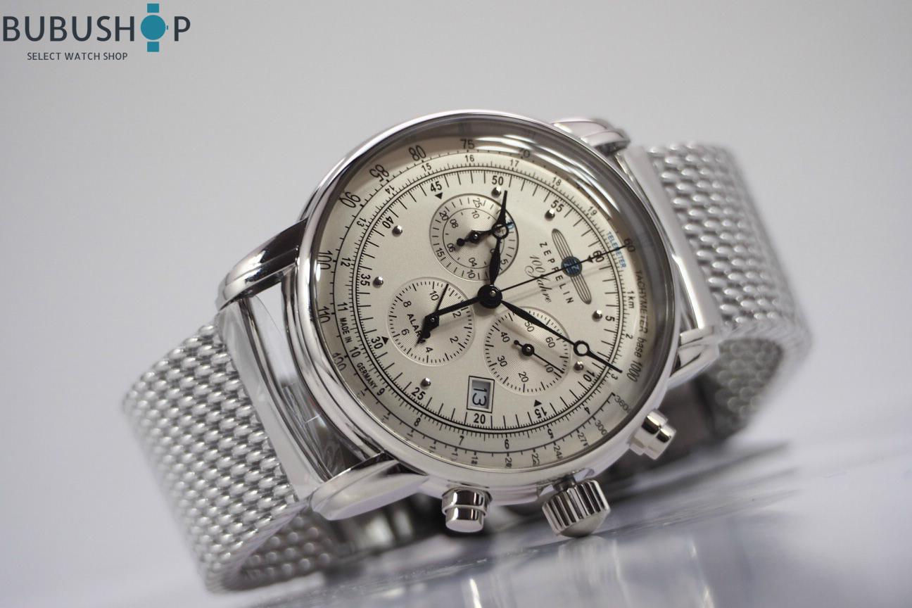 ZEPPELIN ツェッペリン 腕時計 パイロット Special Edition 100周年限定 7680M-1 クォーツ メンズ クロノグラフ ウォッチ アイボリー 贈り物 プレゼント