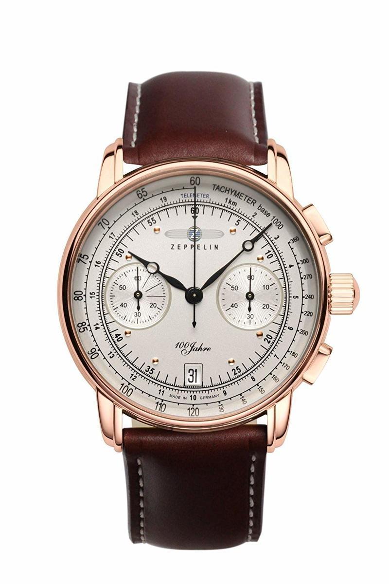 ツェッペリン ZEPPELIN 腕時計 7672-1 100周年記念 クォーツ 42mm レザーベルト 腕時計 贈り物 プレゼント 茶 ブラウン クロノグラフ