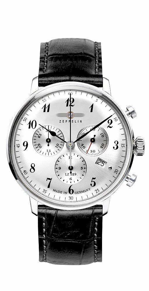 ZEPPELIN ツェッペリン メンズ クロノグラフ 時計 LZ129 Hindenburg 7088-1 贈り物 プレゼント 腕時計 ヒンデンブルグ ブラック シルバー