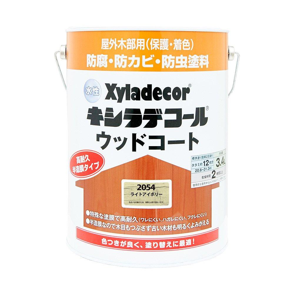 【あす楽対応・送料無料】カンペハピオ水性キシラデコールウッドコートライトアイボリー3.4L