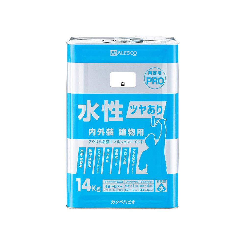 【あす楽対応・送料無料】カンペハピオ水性ツヤあり建物用PRO白14K