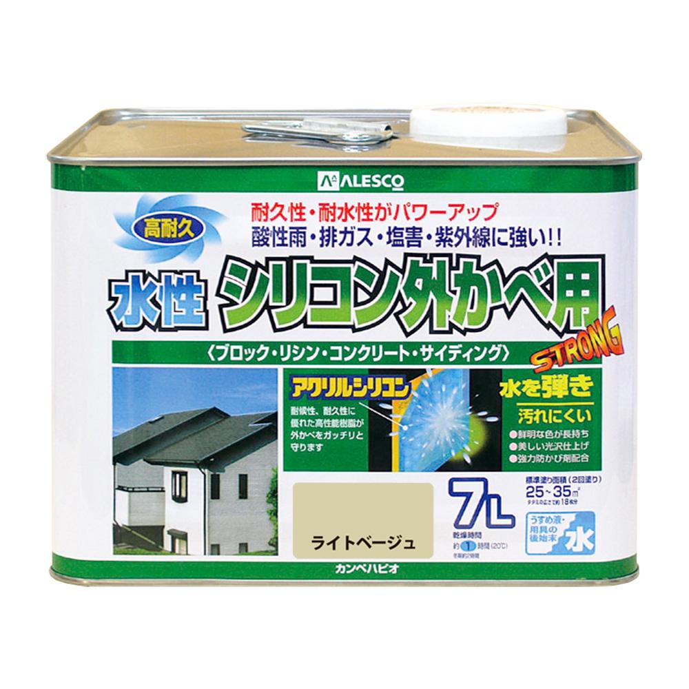 【あす楽対応・送料無料】カンペハピオ水性シリコン外かべ用ライトベージュ7L