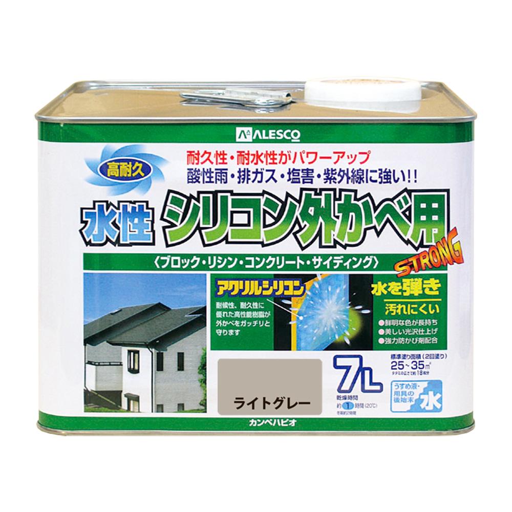 【あす楽対応・送料無料】カンペハピオ水性シリコン外かべ用ライトグレー7L