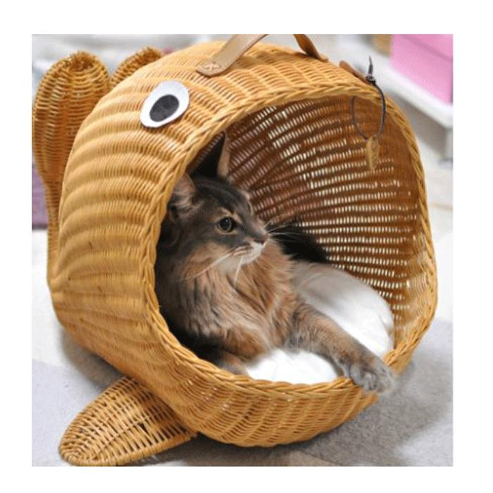 【送料無料】◇ラタン ペットベット◇クジラ型のペットベッド ラタンくじらベッド 猫用/ねこ用/ネコ用 ペット用ベッド ラタンベッド 手作り かわいい 可愛い【全2色】 シンシアジャパン Sincere Japan