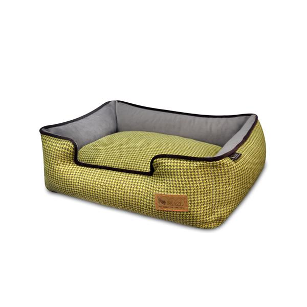 【送料無料】安心感NO1の箱型ペット用ベッド P.L.A.Y ラウンジベッド ハウンドトゥース イエロー Mサイズ 【ペット/ベッド/クッション】