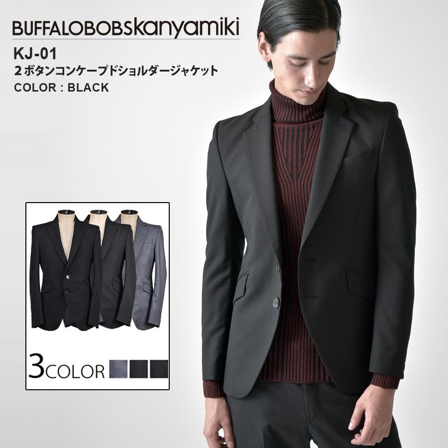 BUFFFALOBOBSkanyamiki(バッファローボブズカンヤミキ)KJ-1_テーラード_ジャケット(グレー(05))(ブラック(09))(マルチ(89))(送料無料)