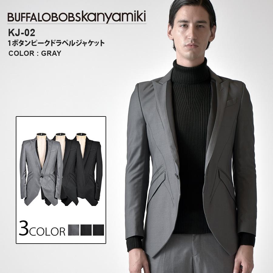 BUFFFALOBOBSkanyamiki(バッファローボブズカンヤミキ)KJ-2_テーラード_ジャケット(グレー(05))(ブラック(09))(マルチ(89))(送料無料)