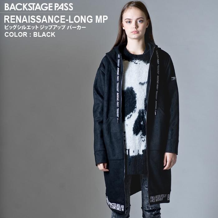 BACKSTAGE PASS バックステージパス RENAISSANCE-LONG MP(ルネサンス-ロング エムピー)ビッグシルエット ジップアップ パーカー