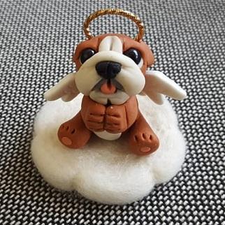 軽量樹脂粘土 ☆お供え☆お悔やみ☆ブルドッグ雑貨 自社オリジナル商品 チープ ブルドッグ天使 新作 いぬ 犬 イヌ