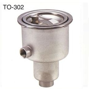 送料無料 [TO-302] 18-8ステンレス大型防臭排水トラップ(オーバーフロー有)