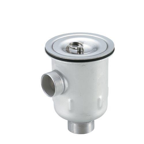18-8防臭排水トラップ(外ネジ65A)(オーバーフロー付)[TO-272]