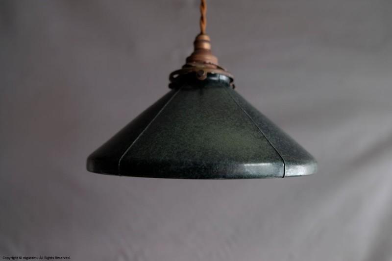 ランプシェードCone M, Odd line #3 (open) / インディゴ (シェードのみ/灯具別売り)【飛松陶器】