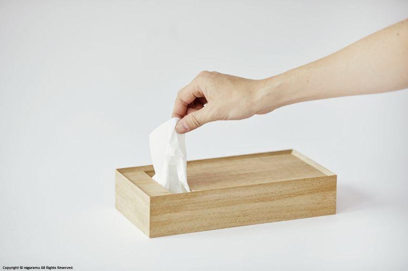 小物置きとしても使える桐箱製のティッシュボックストレイ tissue 新品未使用 Box natural 選択 原嶋亮輔 Tray