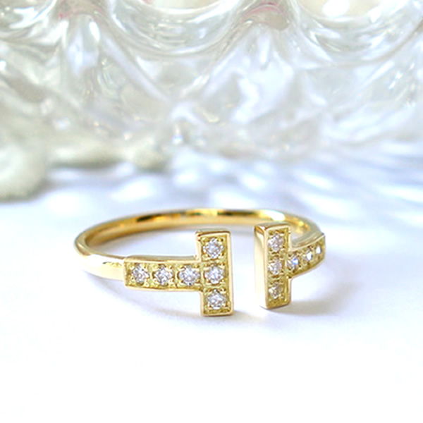 K18 k18 ダイヤモンド リング ダイヤリング 誕生石 Tモチーフ T字 tモチーフ 18金 ゴールド PG WG 指輪 プレゼント 送料無料