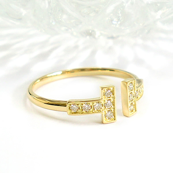 K10 k10 ダイヤモンド リング ダイヤリング 誕生石 Tモチーフ T字 tモチーフ 10金 ゴールド PG WG 指輪 プレゼント 送料無料