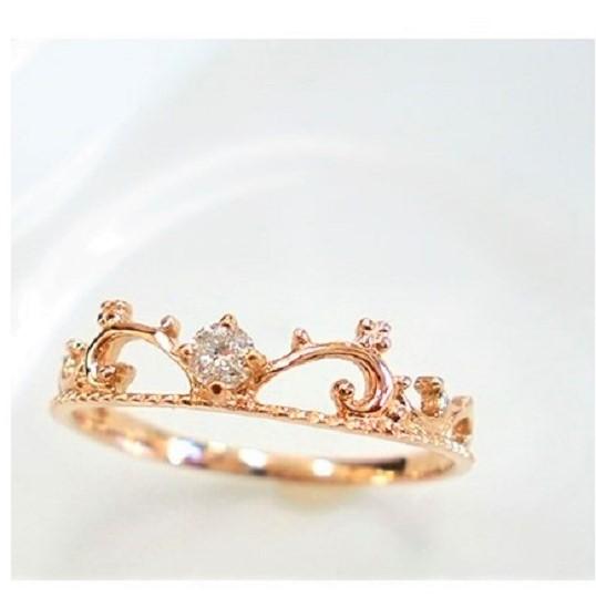 K18 一粒ダイヤ リング ティアラ ダイヤモンド 誕生石 ゴールド ピンクゴールド ホワイトゴールド 指輪【送料無料】