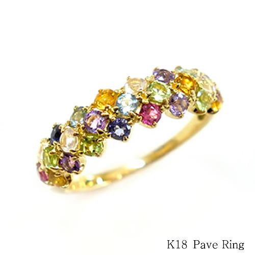 指輪 K18 マルチ リング ゴールド アミュレット パヴェリング カラーリング 送料無料
