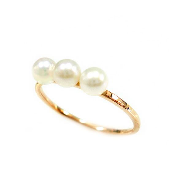 パール 真珠 リング 指輪 細身 華奢 淡水真珠 K10 ゴールド PG WG