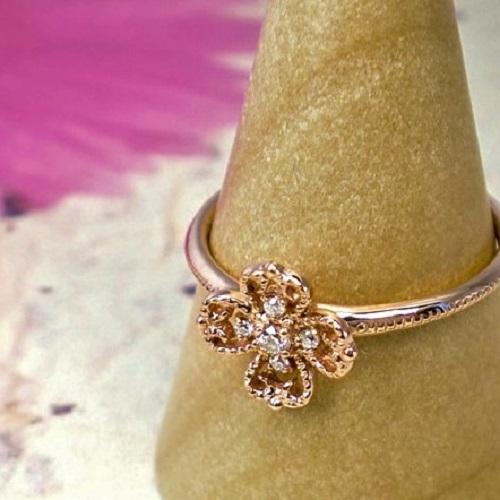 フラワー ダイヤモンド 誕生石 K10 天然ダイヤ アンティーク調 花 リング ゴールド ピンクゴールド ホワイトゴールド 指輪【送料無料】