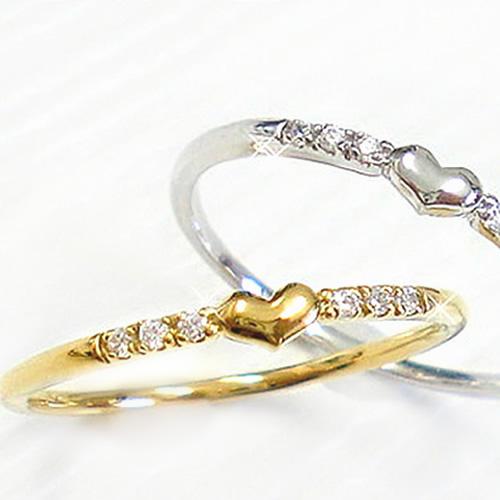 18金 指輪 リング ハート 天然ダイヤ 誕生石 ダイヤモンド K18 ゴールド PG WG 送料無料