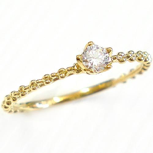 指輪 リング 一粒 天然ダイヤ K18 アンティーク調 誕生石 ダイヤモンド 細身 k18 ゴールド PG WG【送料無料】