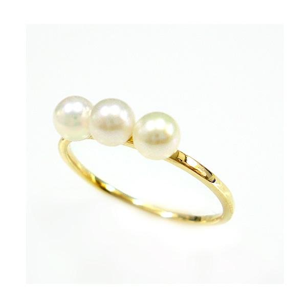 パール 真珠 リング 指輪 細身 華奢 淡水真珠 K18 ゴールド PG WG 送料無料