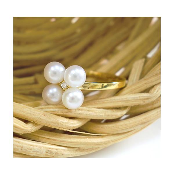 パールリング 真珠 驚きの値段 指輪 パール ダイヤモンド リング フラワー K18 おすすめ特集 ゴールド 華奢 WG 淡水真珠 細身 PG レディース 送料無料