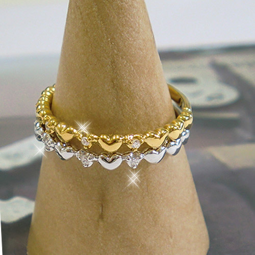 18金 指輪 リング ハート 天然ダイヤ 誕生石 K18 ダイヤモンド ゴールド PG WGWEH9IYD2