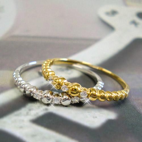 指輪 リング 天然ダイヤ 誕生石 K10 ダイヤモンド ゴールド PG WG