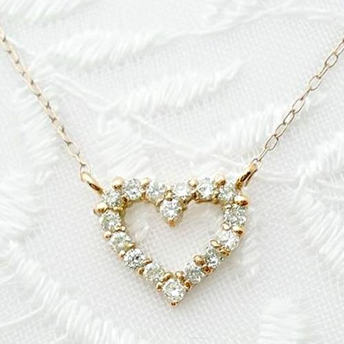 k18 ダイヤモンド ネックレス ハート オープンハート ゴールド K18 天然ダイヤ 0.2ct 誕生石 ハートネックレス ペンダント 18金 PG WG 送料無料