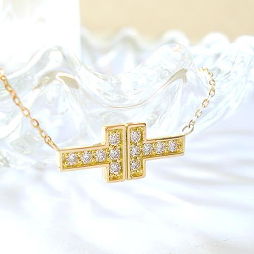 K18 ネックレス ダイヤモンド 0.15ct k18 18金 T字 tモチーフ リバーシブル 2WAY ゴールド PG WG Tモチーフ 誕生石 送料無料