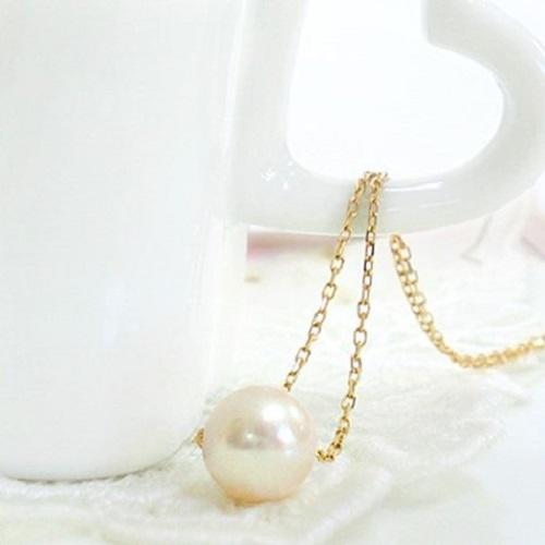 パール 一粒 パールネックレス 10金イエローゴールド あこや本真珠 誕生石 K10 ゴールド