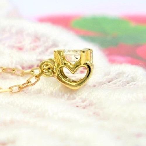 自分へのご褒美 プレゼント 与え 記念日 一粒 ダイヤモンド 0.1ct ネックレス ハート ゴールド ペンダント PG K10 誕生石 送料無料 新発売 WG