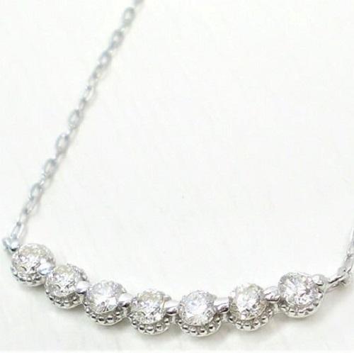 ラインネックレス K18 ダイヤモンド 0.3ct 誕生石 天然ダイヤ アンティーク調 ペンダント ゴールド PG WG