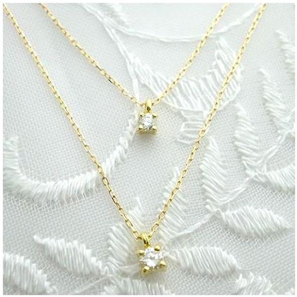 ダイヤモンド 2連 ツインネックレス 18金 ダイヤモンド(4月誕生石)0.1ctネックレス  K18 2連 ネックレス【送料無料】