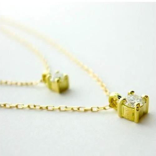 2連ネックレス ダイヤモンド 2連 ツインネックレス 18金 ダイヤモンド(4月誕生石)0.1ctネックレス  K18 2連 ネックレス【送料無料】