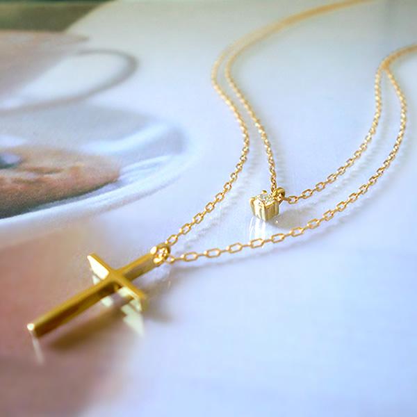 K18 k18 2連ネックレス ツイン ネックレス ダイヤモンド クロス 誕生石 ペンダント ゴールド PG WG 18金 レディース ジュエリー アクセ 人気 送料無料