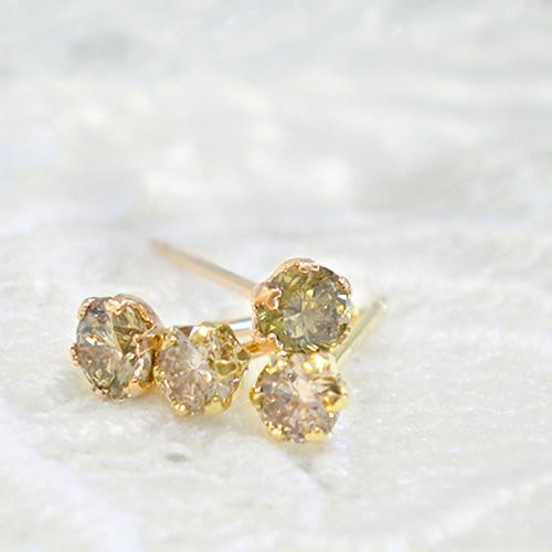 ブラウンダイヤ K18 ピアス ダイヤモンド 一粒ダイヤ 一粒 スタッドピアス ゴールド ピンクゴールドrBedCQEoxW