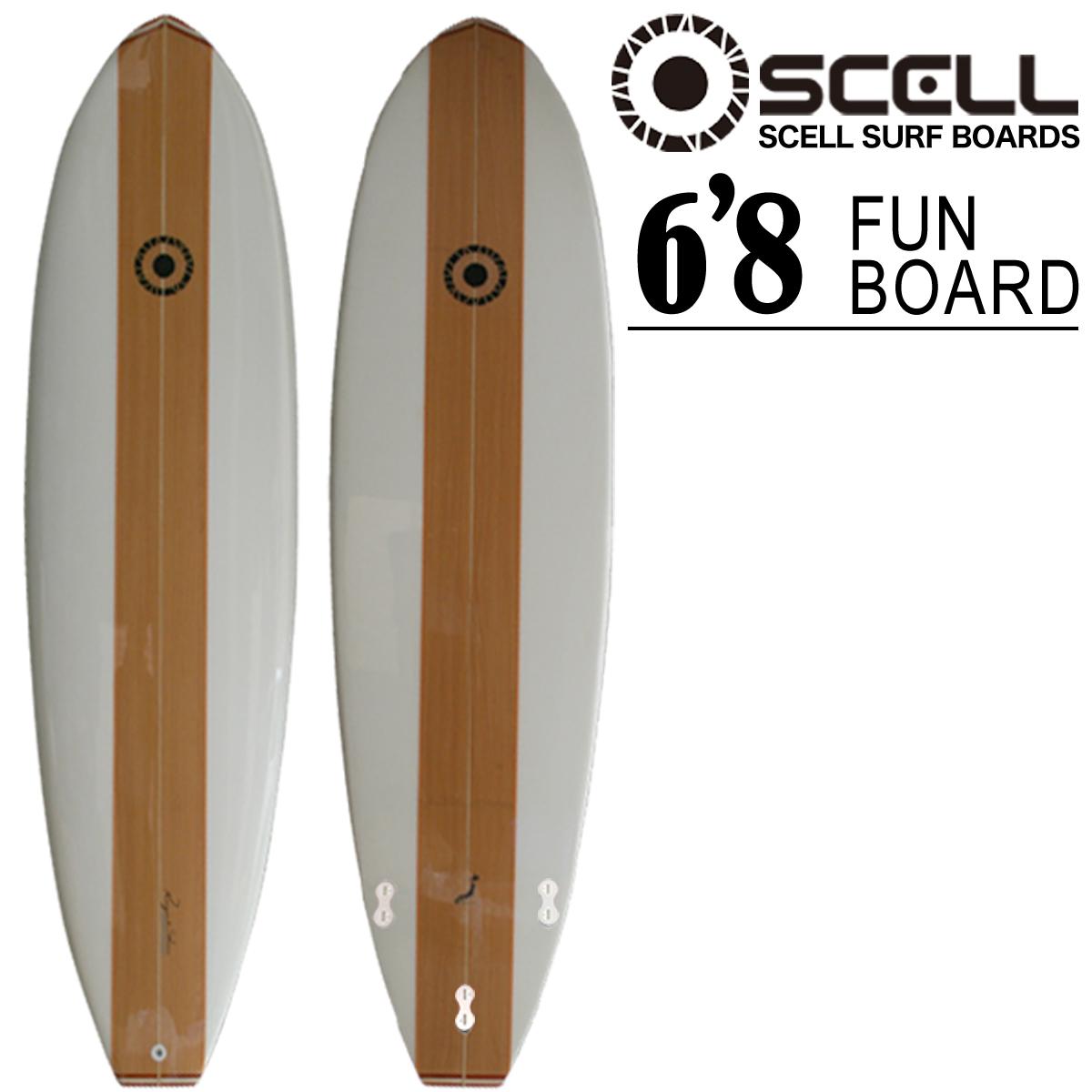 ファンボード 6'8 WOOD●サーフボード 【SCELL】 サーフィン