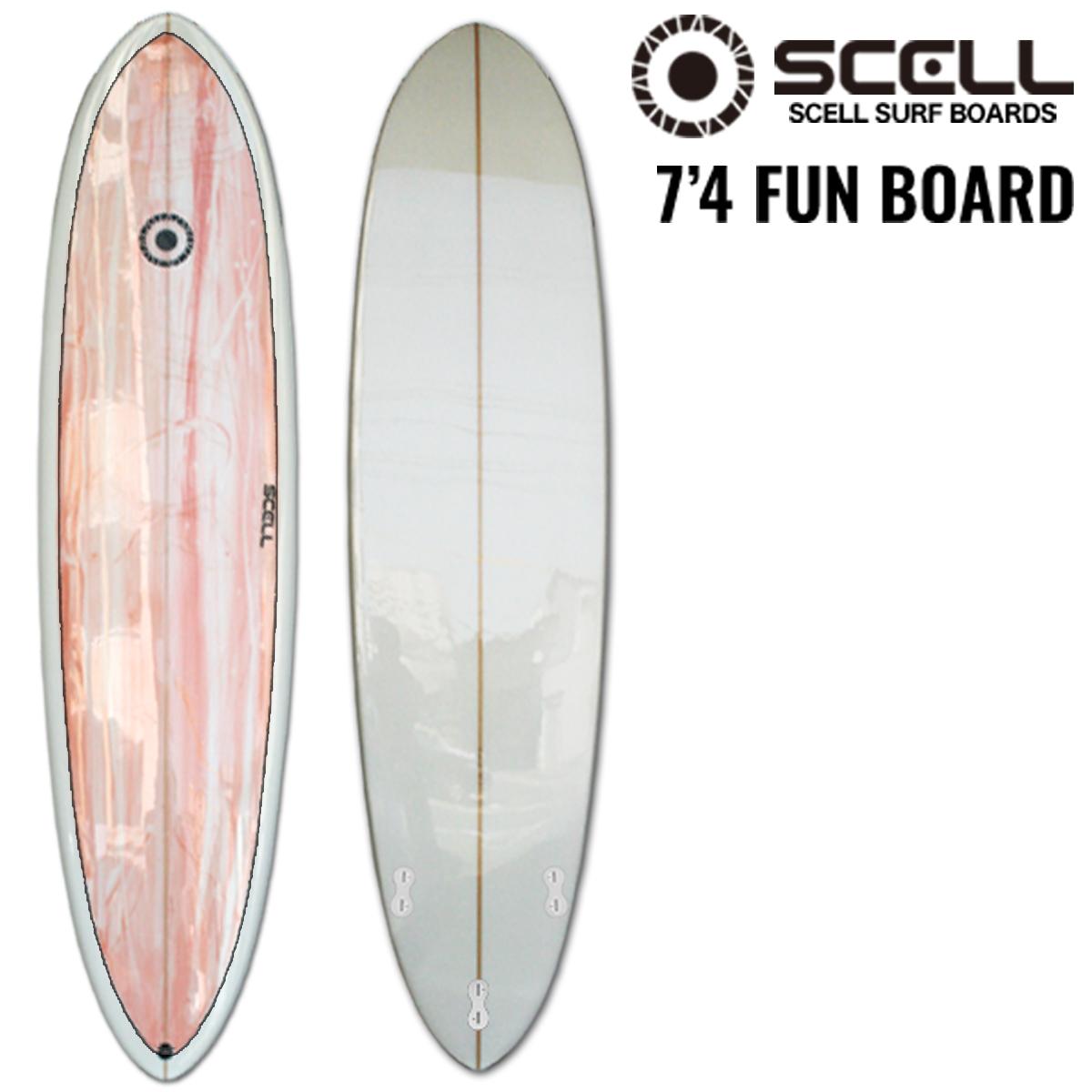 ▼激得▼ファンボード 7'4 ピンク●サーフボード 【SCELL】 サーフィン