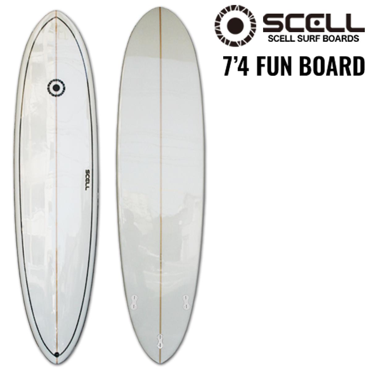 ▼激得▼ファンボード 7'4 白●サーフボード 【SCELL】 サーフィン