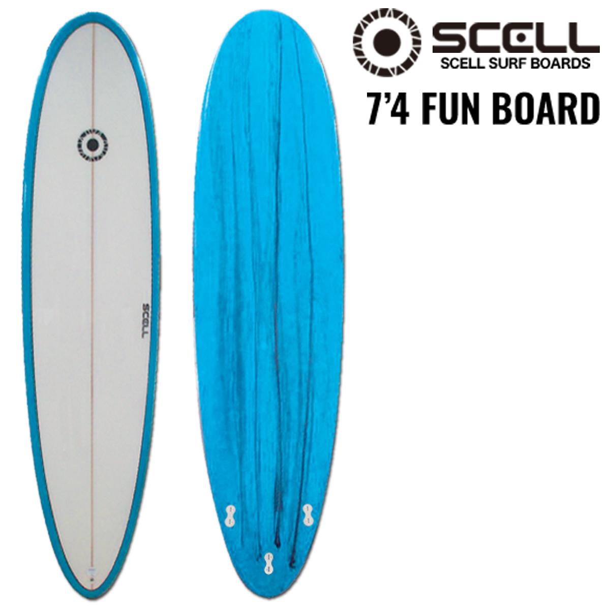 ファンボード 7'4 青●サーフボード 【SCELL】 サーフィン
