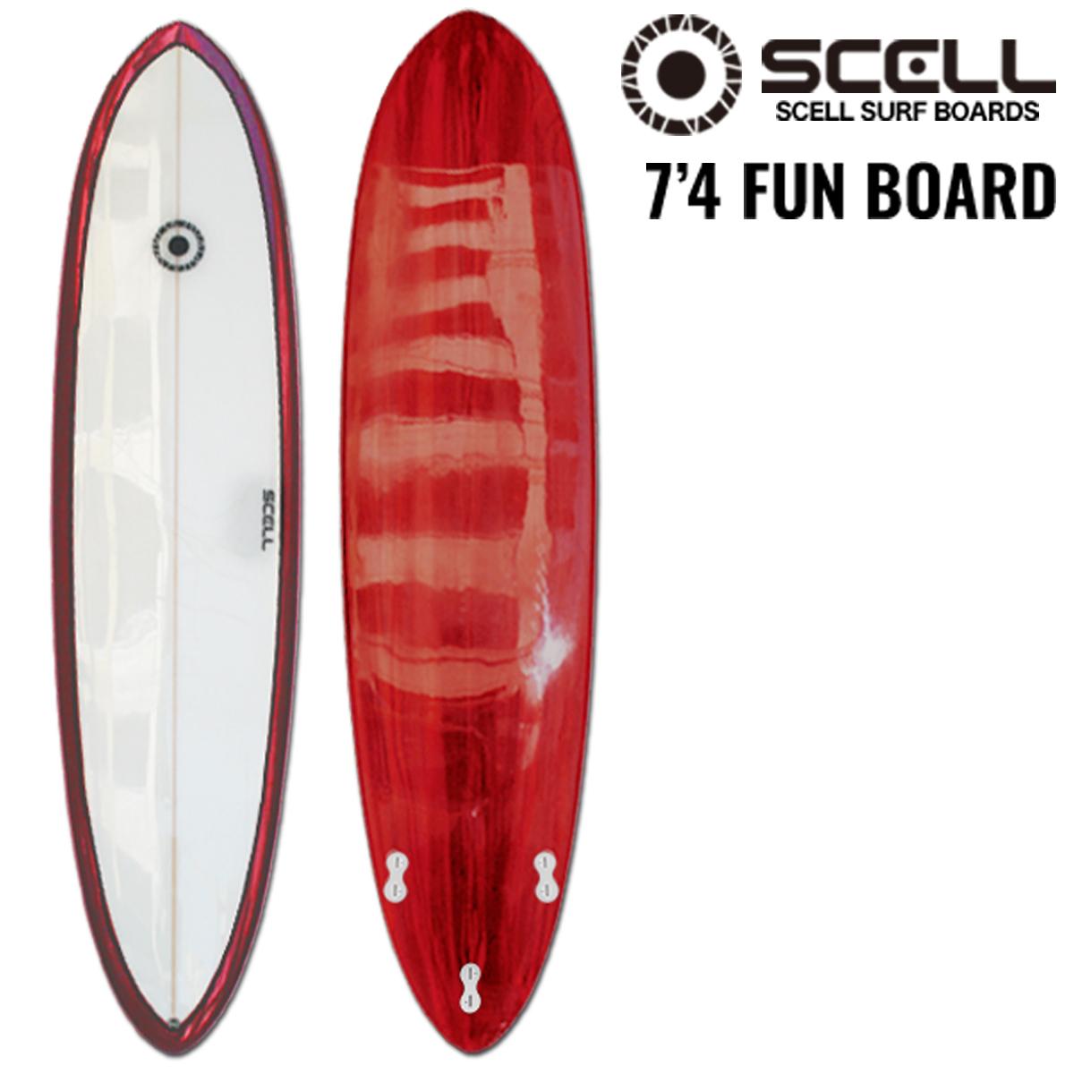 ファンボード 7'4 赤●サーフボード 【SCELL】 サーフィン