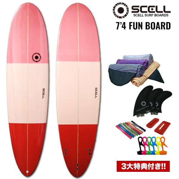 7'4ファンボードFCピンク●サーフボード【SCELL】 サーフィン