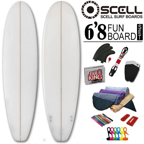 初心者7点SET ファンボード 6'8 クリアセット ニットケース ホワイト 白 サーフボード SCELL サーフィン ステップアップモデル