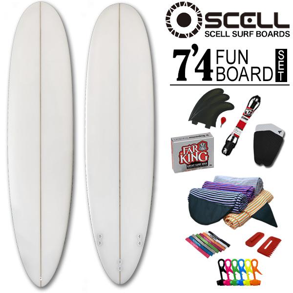 初心者7点SET ファンボード 7'4 クリアセット ニットケース ホワイト 白 サーフボード SCELL サーフィン ステップアップモデル