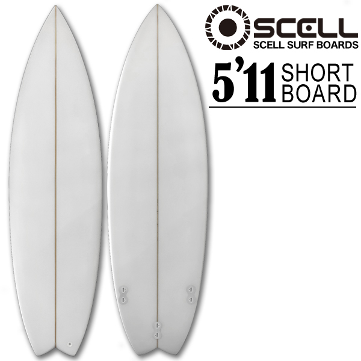 ショートボード サーフボード クリア 5'11 ホワイト 白 初心者 上級者 トライフィン SCELL サーフィン